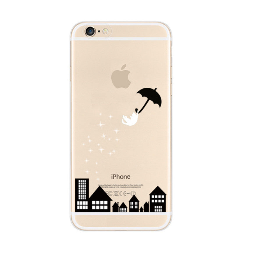 Black House Cat Falling Umbrella iPhone 6s 6 Plus Soft Clear Case - Mavasoap