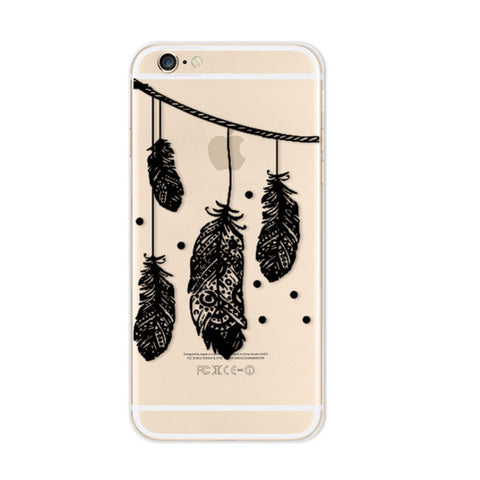 Black Feathers iPhone 6s 6 Plus Soft Clear Case - Mavasoap