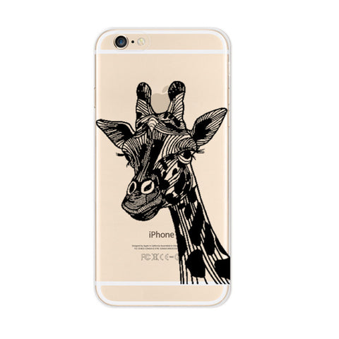 Black Giraffes iPhone 6s 6 Plus Soft Clear Case - Mavasoap