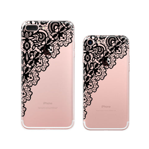 Black Lace iPhone 7 Plus Soft Clear Cases