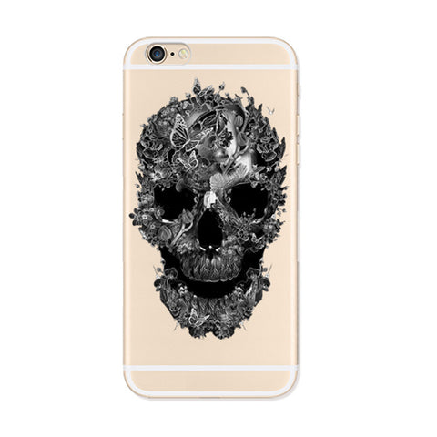 Black Skull iPhone 6s 6 Plus Soft Clear Case - Mavasoap