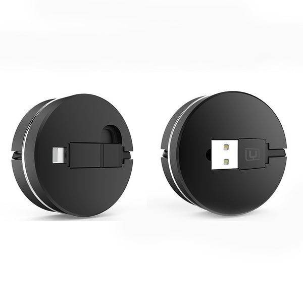 2 in 1 USB to Micro USB Lightning Retractable Cable (Black) - Mavasoap - 1