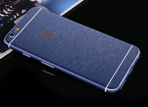 Blue Brushed Aluminum Surface Decal Wrap Skin Set iPhone 6s 6 / iPhone 6s 6 Plus - Mavasoap - 1