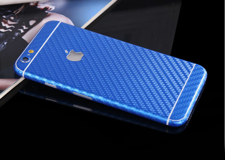 huge discount 5bf53 10d50 Blue Carbon Fiber Decal Wrap Skin Set iPhone 6s 6 / iPhone 6s 6 Plus