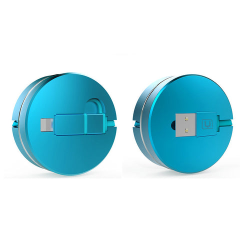 2 in 1 USB to Micro USB Lightning Retractable Cable (Blue) - Mavasoap - 1