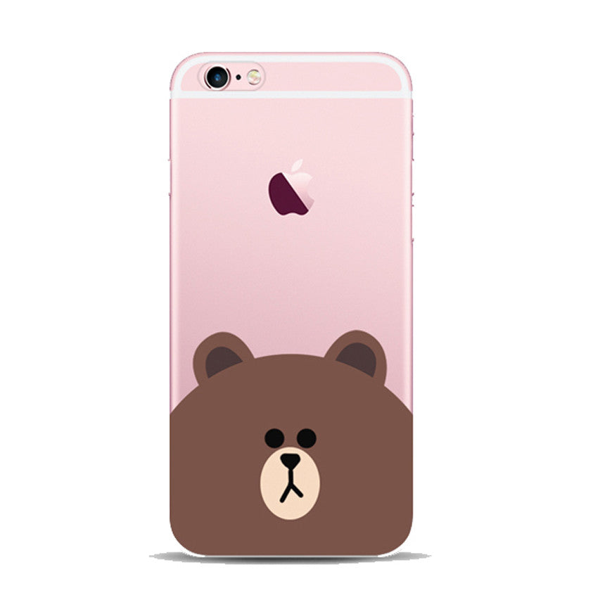 pretty nice effde 5a5aa Line Bear Apple iPhone 6s 6 Plus SE 5s 5 Soft Clear Case