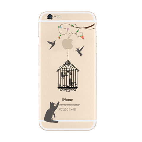 Cat Bird Cage iPhone 6s 6 Plus SE 5s 5 Soft Clear Case - Mavasoap