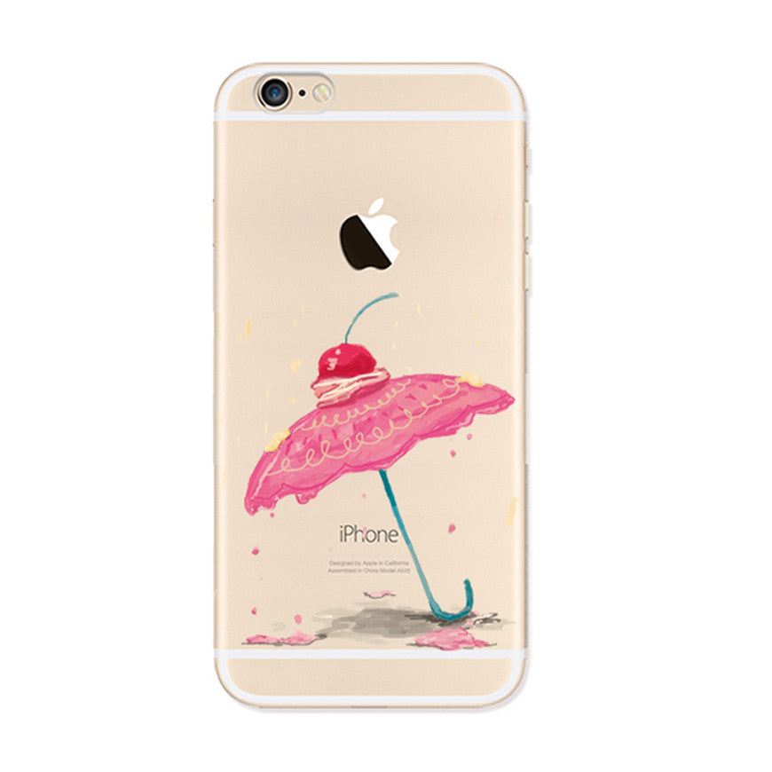 Cherry Umbrella iPhone 6s 6 Plus Soft Clear Case - Mavasoap