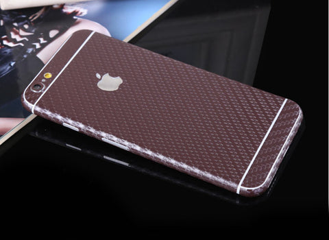 Brown Carbon Fiber Decal Wrap Skin Set iPhone 6s 6 / iPhone 6s 6 Plus - Mavasoap - 1