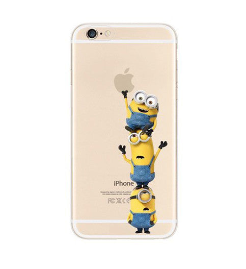 new arrival 61456 a23a2 Minions Climbing iPhone 6s 6 Plus SE 5s 5 Soft Clear Case