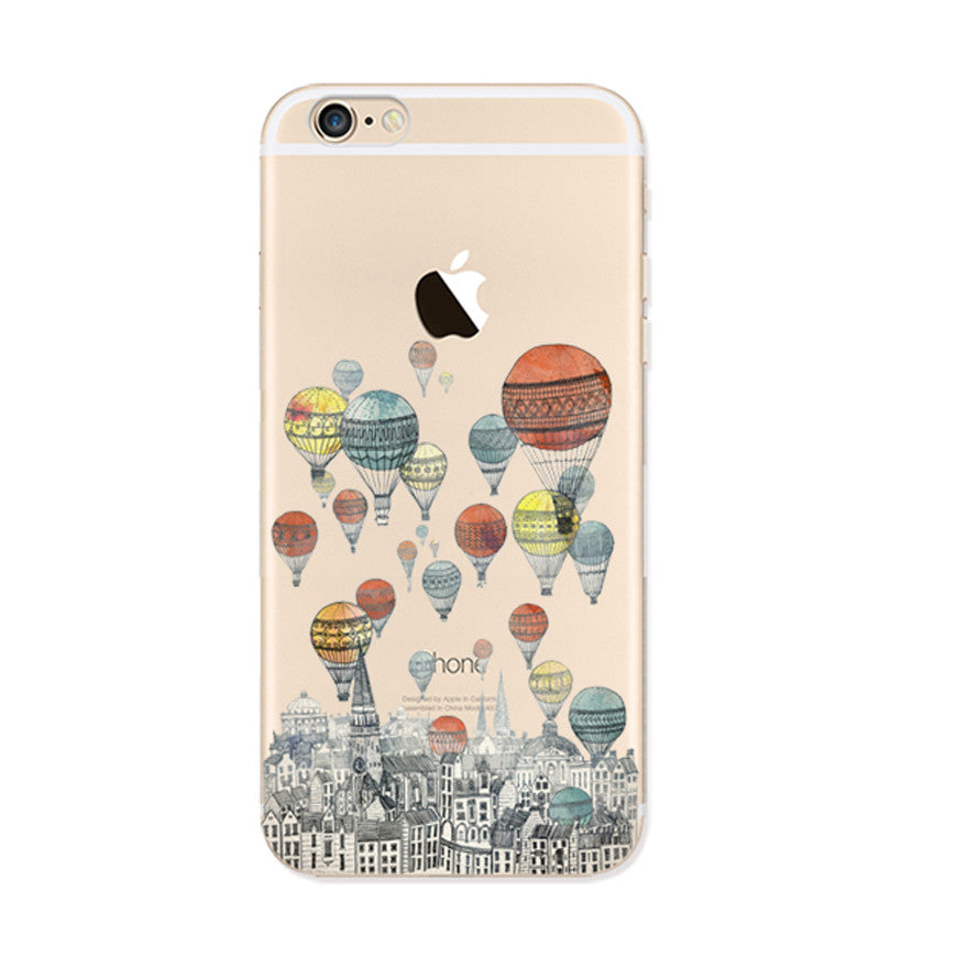 Colorful Balloon City iPhone 6s 6 Plus SE 5s 5 Soft Clear Case - Mavasoap