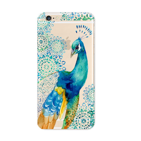 Colorful Peacock iPhone 6s 6 Plus SE 5s 5 Soft Clear Case - Mavasoap