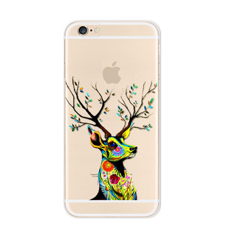 Colorful Reindeer iPhone 6s 6 Plus SE 5s 5 Soft Clear Case - Mavasoap