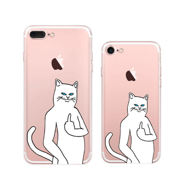 Cool Ripndip Cat Middle Finger Cat iPhone 7 Soft Clear Cases