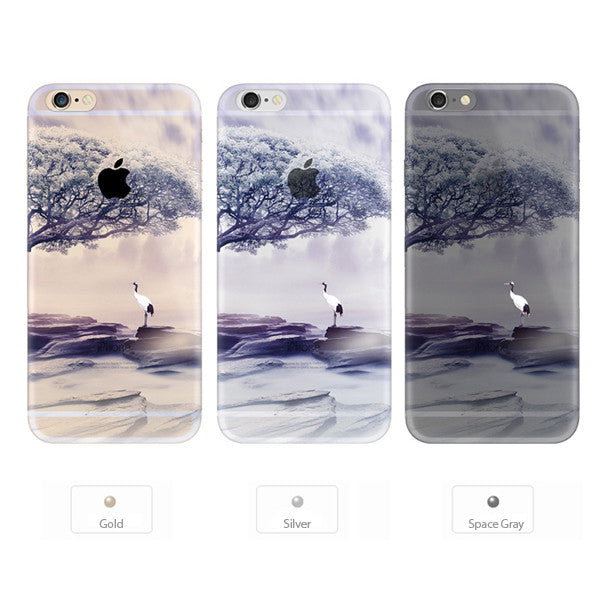 Crane Tree Scenery Nature iPhone 6s 6 Plus SE 5s 5 Soft Clear Case - Mavasoap