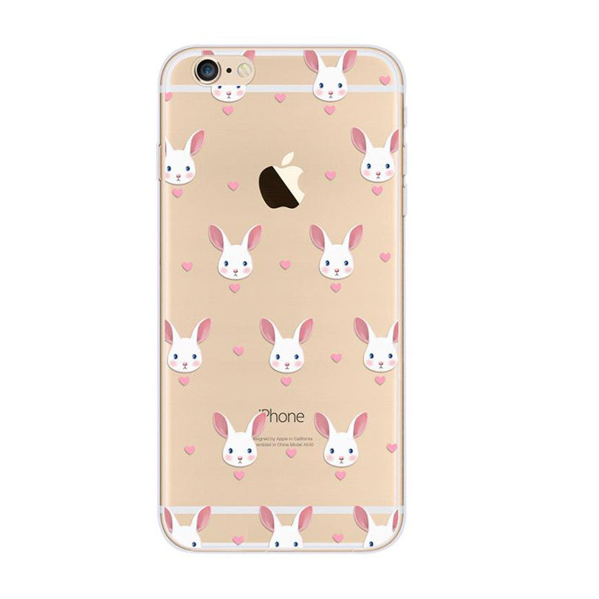 Cute Rabbit Pattern iPhone 6s 6 Plus Soft Clear Case - Mavasoap