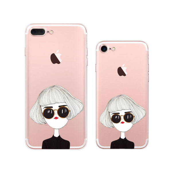 Cute Woman iPhone 7 Plus Soft Clear Cases