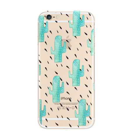 Cactus Summer Raining Pattern iPhone 6s 6 Soft Clear Case - Mavasoap