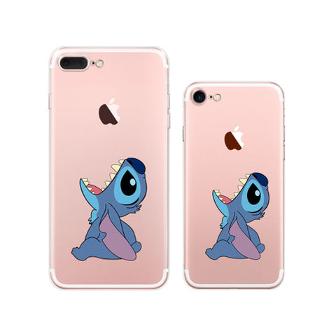 Disney Lilo & Stitch Cartoon Eat Apple iPhone 7 Plus Soft Clear Cases