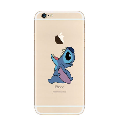 Disney Lilo & Stitch Cartoon Eat Apple iPhone 6s 6 Plus SE 5s 5 Soft Clear Case - Mavasoap