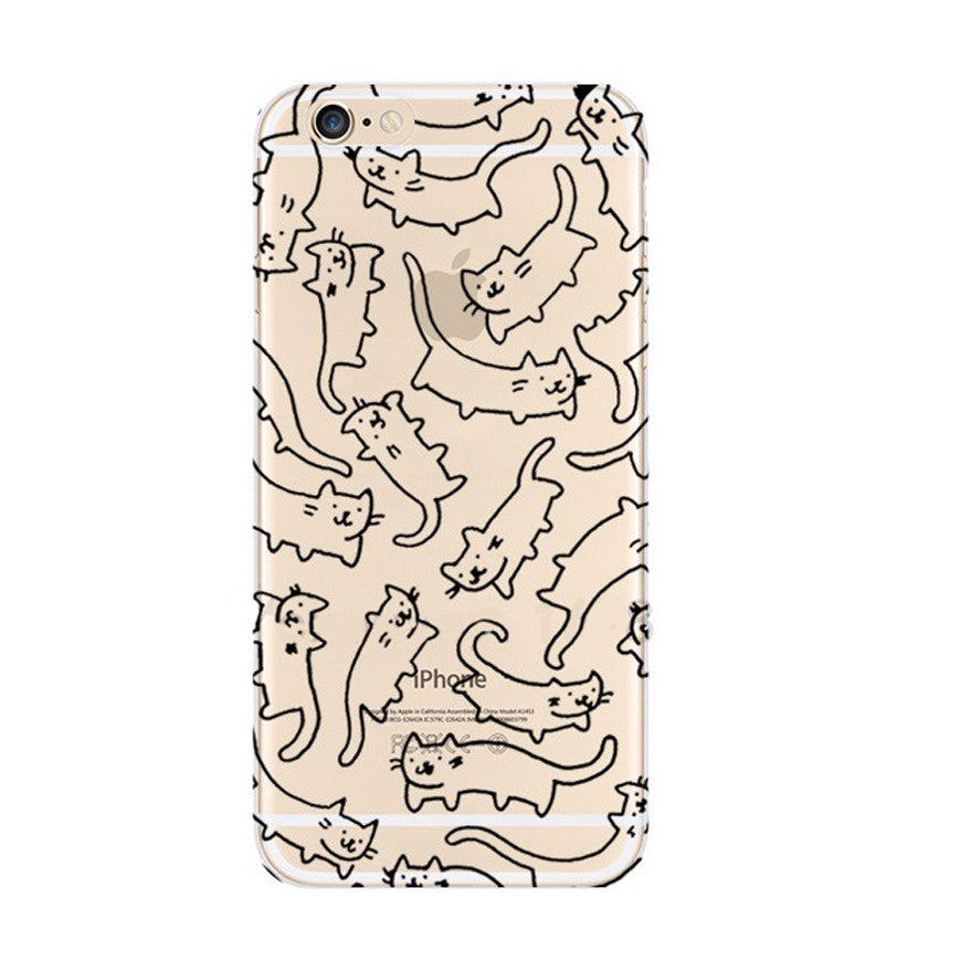 Drawing Cat iPhone 6s 6 Soft Clear Case - Mavasoap