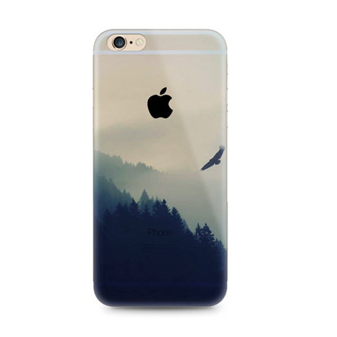 Fog woods Mountain Scenery Nature iPhone 6s 6 Plus SE 5s 5 Soft Clear Case - Mavasoap