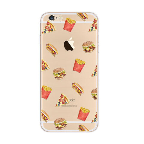 French Fries Pizza Hot Dog Burger Fast Food iPhone 6s 6 Plus SE 5s 5 Soft Clear Case - Mavasoap
