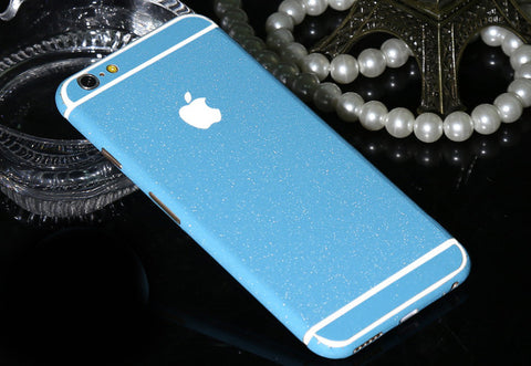 Frosted Light Blue Sparkle Decal Wrap Skin Set iPhone 6s 6 / iPhone 6s 6 Plus - Mavasoap - 1