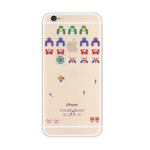 Galaga Namco Game iPhone 6s 6 Soft Clear Case - Mavasoap