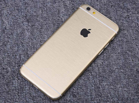 Gold Brushed Aluminum Surface Decal Wrap Skin Set iPhone 6s 6 / iPhone 6s 6 Plus - Mavasoap - 1