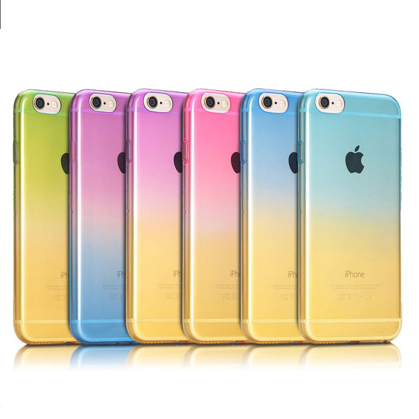 Aqua to Yellow Gradient Soft Clear Case Back Cover for iPhone 6s 6 Plus SE 5s 5 - Mavasoap - 3