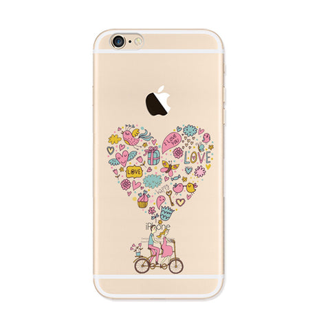 Heart Bicycle Love Couple iPhone 6s 6 Soft Clear Case - Mavasoap