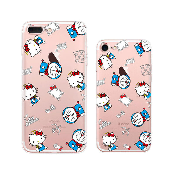Hello Kitty x Doraemon iPhone 7 Soft Clear Cases