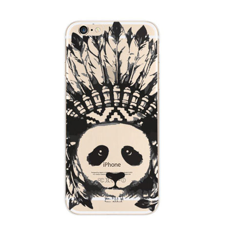 Indian Panda Apple iPhone 6s 6 Soft Clear Case - Mavasoap