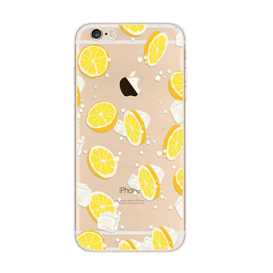 premium selection e546c ce9e2 Lemon Ice Pattern Yellow iPhone 6s 6 Plus SE 5s 5 Soft Clear Case