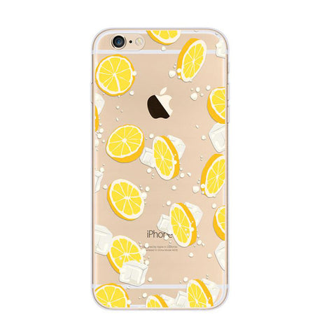 Lemon Ice Pattern Yellow iPhone 6s 6 Plus SE 5s 5 Soft Clear Case - Mavasoap