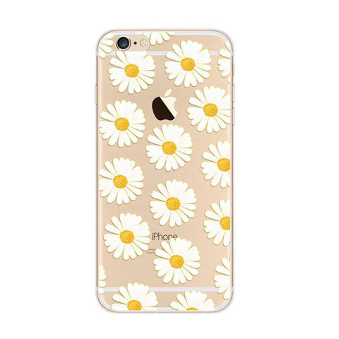 Little Daisy Pattern White iPhone 6s 6 Plus SE 5s 5 Soft Clear Case - Mavasoap