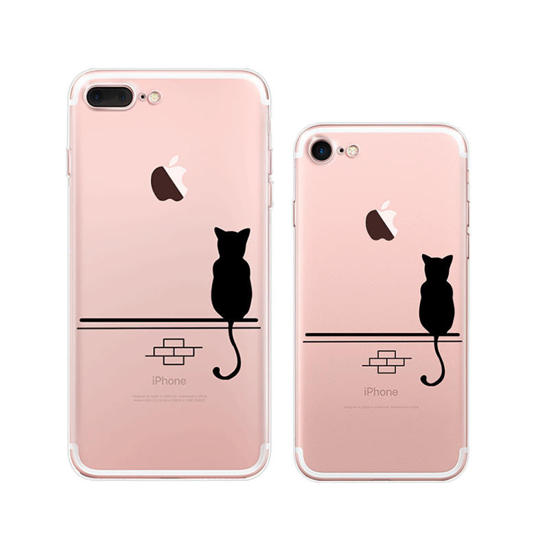 Lonely Black Cat iPhone 7 Soft Clear Cases