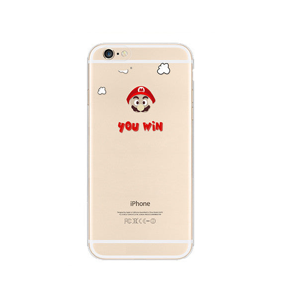 Super Mario You Win iPhone 6s 6 Plus Soft Clear Case - Mavasoap
