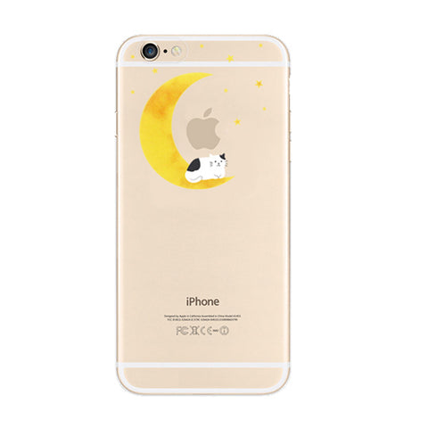 Moon Cat Sleep iPhone 6s 6 Plus SE Soft Clear Case - Mavasoap
