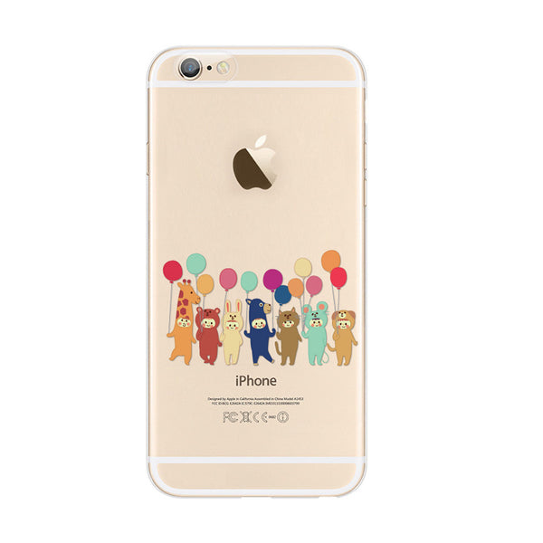 Cutie Animal Party Balloon iPhone 6s 6 Plus Soft Clear Case - Mavasoap - 1