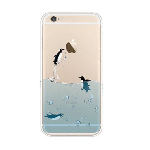 Penguins Swim Sea iPhone 6s 6 Plus SE 5s 5 Soft Clear Case - Mavasoap