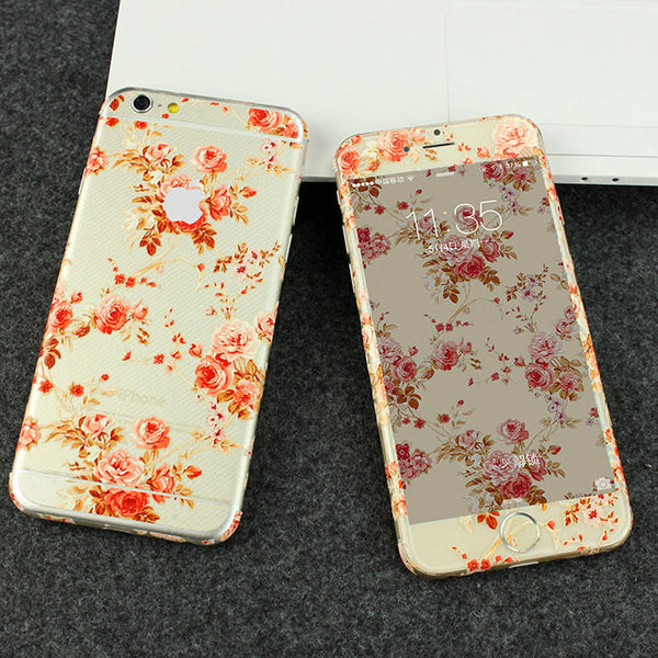 Peony Flowers Pattern Decal Wrap Skin Set iPhone 6s 6 / iPhone 6s 6 Plus - Mavasoap - 1