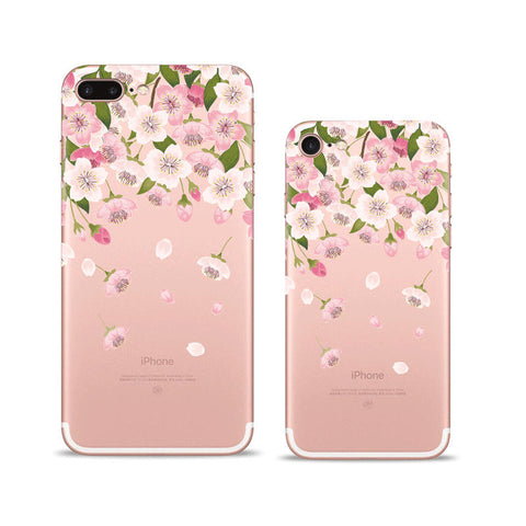 Petal Pink flowers iPhone 7 Plus Soft Clear Cases
