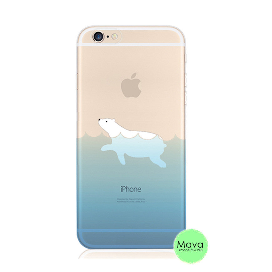 Polar Bear Sea Swim iPhone 6s 6 Plus SE 5s 5 Soft Clear Case - Mavasoap