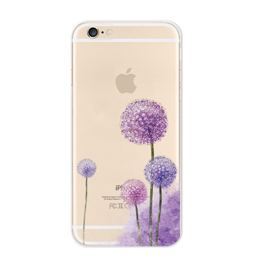 Purple Dandelions Taraxacum Flowers iPhone 6s 6 Plus Soft Clear Case - Mavasoap