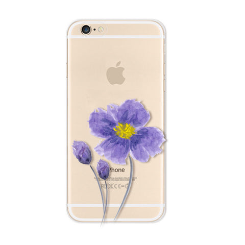 Purple Flower iPhone 6s 6 Plus Soft Clear Case - Mavasoap