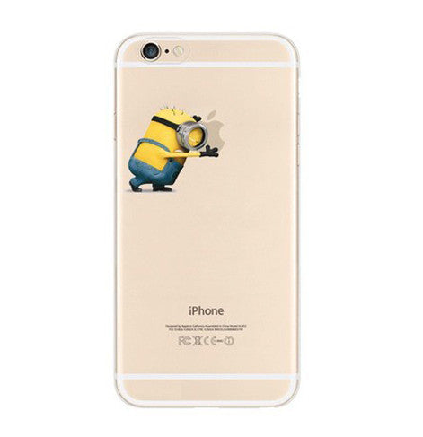 Minions Push Apple iPhone 6s 6 Plus SE 5s 5 Soft Clear Case - Mavasoap
