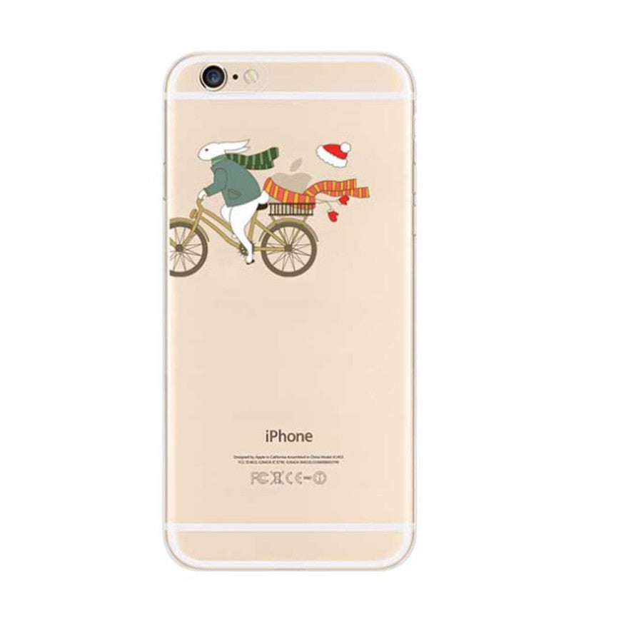 Rabbit Santa Hat Ride Bicycle iPhone 6s 6 Soft Clear Case - Mavasoap