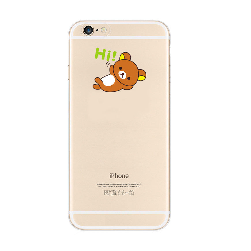 Brown Rilakkuma Hi iPhone 6s 6 Plus SE 5s 5 Soft Clear Case - Mavasoap